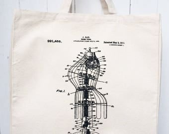 Hand Screen Printed Dressmakers Dummy Vintage Patent Illustration Design Cotton Canvas Tote Bag Shoulder Bag Craft Bag Grocery Bag Reusable