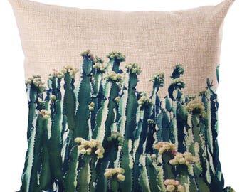 Housse de coussin déco toile de lin et coton beige CACTUS fleurs   Décoration d'intérieur   Salon    Design Tropical    tropique
