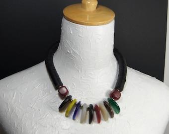 Vintage Mali Wedding Glass Statement Necklace E 434