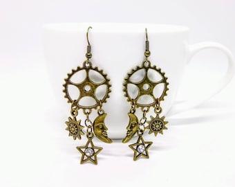 Steampunk Earrings Space With Bronze Cog/Gear Steampunk Jewellery