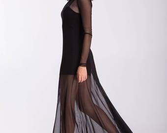 Black Mesh Dress \ Transparent Maxi Dress Long Sleeves Black Sheer Dress Tulle Dress See Through Dress Party Dress A0046