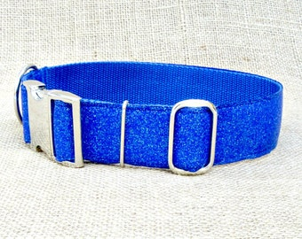 "Dog Collar: 1.5"" Wide, Cobalt Blue SPARKLE with Metal Side Release Buckle~ Winter Solstice, Hanukkah"