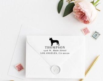 Custom Return Address Stamp, Self Ink Return Address Stamp, Terrier Dog Stamp, Calligraphy Address Stamp Return Address Stamp No4