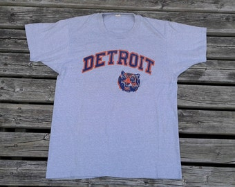 Vintage 1980's Detroit Tigers Grey Screen Stars Made in USA t-shirt large