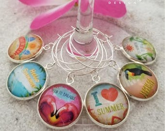 Tropical Summer Wine Glass Charms-Flamingo Wine Charms-Toucan-Beach Quote Charms-Housewarming Gift-Tropical Wine Charms-Tropical Collection