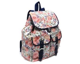 Leather blue cotton backpack purse Floral School rucksack Waterproof bag Travel flower Wet bag Pink Rose Laptop book bag Water resistant bag