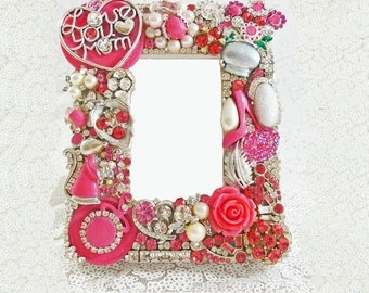 Perfect Gift for Mom, Dazzling Jeweled Picture Frame, Swarovski Crystals, Vintage Jewelry, Sparkle, Bling, Unique Gift
