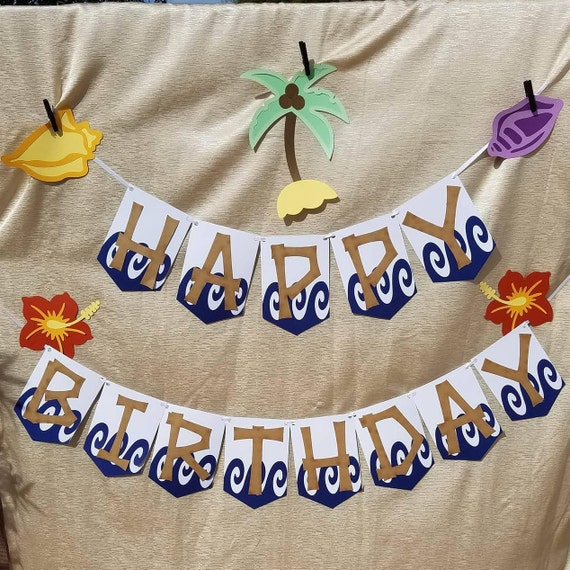 Items Similar To Moana Happy Birthday Banner / Beach