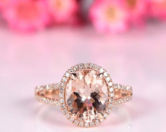 Big Morganite engagement ring 8x10mm oval cut morganite ring split shank diamond wedding band solid 14k rose gold promise ring customized