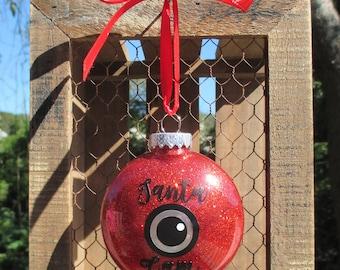 Santa cam ornament, Santa camera, Santa camera ornament, glitter ornament, Christmas ornament, Christmas, custom ornament, Christmas tree