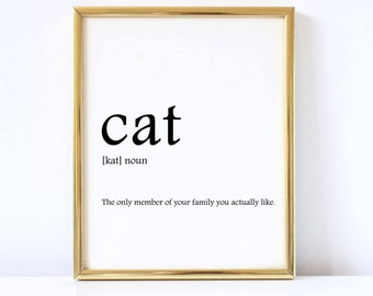 Cat definition print, Cat print, Cat home decor, Cat lover printable, Wall art printable
