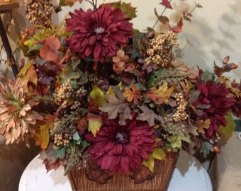 Fall Floral Arrangement in Large Hinged Basket