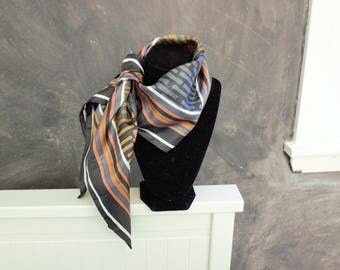 Vintage square scarf in fall colors, blue grey and orange vintage fall scarf