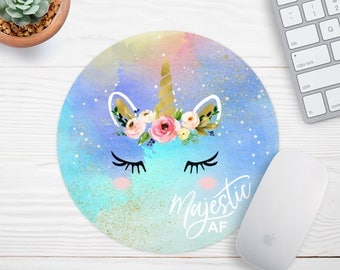 Unicorn Mousepad,  Majestic AF, Girly Mouse Pad, Personalized Mouse Pad, Gold Foil Mousepad, Desk Accessories, Desk Decorations