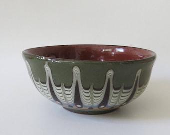 Vintage Handmade Bulgarian Troyan Redware Ceramic Bowl