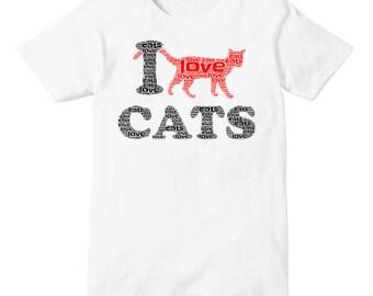 I Love CATS Word Art T-Shirt
