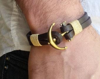 Men Leather Bracelet, Men Anchor Bracelet, Anchor Leather Bracelet, Leather Bracelet, Bracelet for Men, Man Leather Bracelet, Man Jewelry