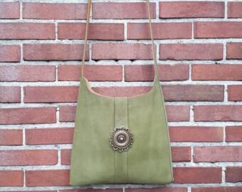 Suede bag,  Suede Shoulderbag, Green Shoulder Bag, Women leather bag, Handmade leather Bag, Gift for her, Green Suede Bag, Green Leather Bag
