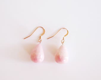 Rose Gold Earrings, Blush Pink Teardrop Earrings, Drop Earrings, Summer Jewellery, Clay Earrings, Ceramic Jewellery, Unique Gift for Her