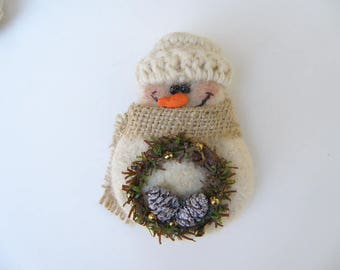 Snowman with pine cone wreath pin