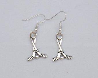 Ice Hockey stick earrings, hockey jewelry, sports jewelry, Hockey Mom gift for her, sterling silver earrings
