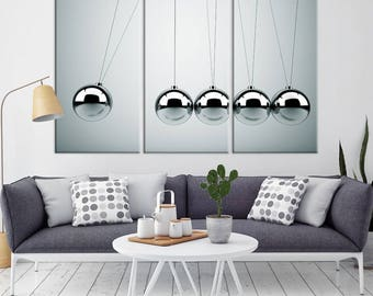 Large 3 Panels Wall Art Photograph Canvas Print - Newton's Cradle Print on Canvas, Housewarming Gift, Home&Office Decorations
