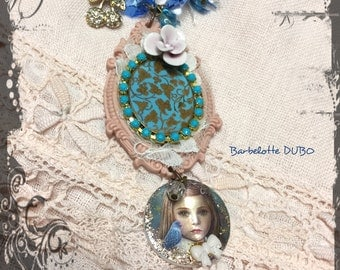 "Necklace shabby Bohemian Medallion blue and pink - doll - face - girl - cherry - Blue Crystal beads - flowers ""Miss Emma Bloom"""