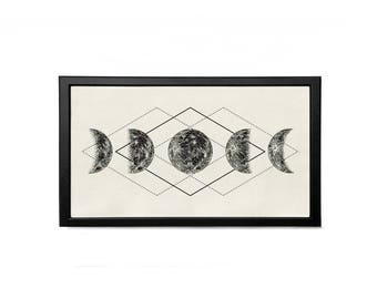 Moon Phase lunar phases and Geometric Shapes Minimalist Digital print Poster Physical Item Wall Art