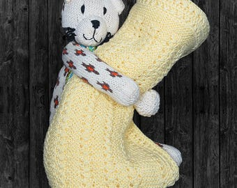 Huggable hand knit set-hand knit baby blanket, hand knit stuffed panther, baby gift, baby shower gift, Holiday gift, hand knit stuffed toy