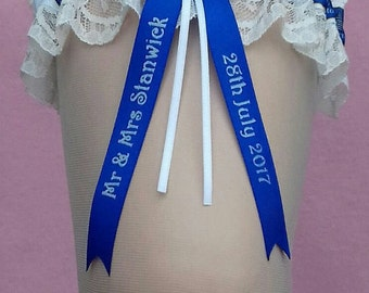 Everton Personalised Wedding Garter with White Lace