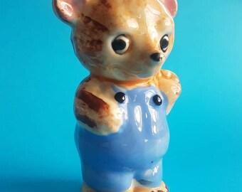 Pensive Bear Figurine - Salt Shaker - Ceramic - Cute Kitsch Retro Vintage