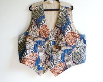 80s Cat Vest - Vintage Embroidered Cats Button Suit Vest - Men's 2X
