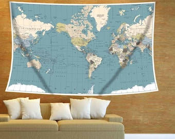 World Map Wall Hanging map wall hanging | etsy