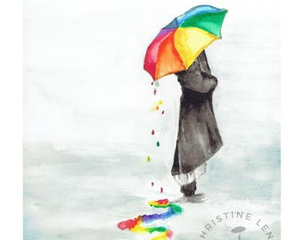 Rainbow Umbrella Watercolor Print