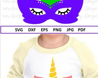 Mardi Gras Unicorn Svg for Mardi Gras Svg File for Cricut Silhouette Unicorn with Mask Svg Fat Tuesday Svg Dxf Eps Louisiana svg for Girls