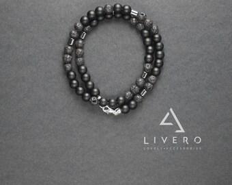 Stylish mens bracelet. Shungite bracelet. Lava bracelet. Hematite bracelet. Double wrap bracelet. Mens bracelet. Gift for HIM. Shungite
