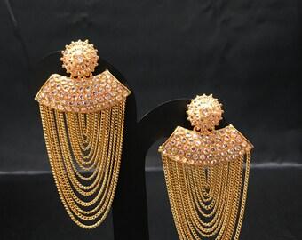 Bollywood Jewelry - Indian Jewelry - Kundan Earrings - Chandelier Earrings - Multi Layer Rani Earrings - Pakistani Jewelry - Bridal Wedding