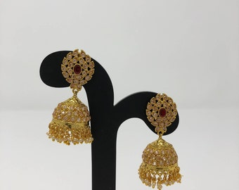 Jhumka Earrings - Jhumki Earrings - Indian Jewelry - Indian Earrings - Kundan Earrings - Bollywood Earrings - Pakistani Earrings -