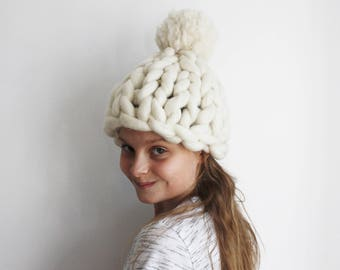 Winter Hat, Knitted Hat, Chunky Knit Hat, Wool Hat, Super Chunky Hat, Merino Hat, Pom pom Beanie, Giant Pom Pom, Knit White Hat, Womens Hats