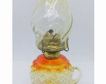 Antique Oil Lamp, Glass Kerosene Lamp, Vintage Eagle Oil Lamp, Red Table Top Lantern