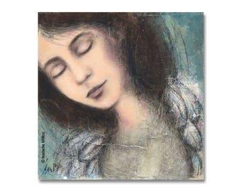 """Peinture """"Un rêve encore"""" femme nostalgie plumes ailes"""