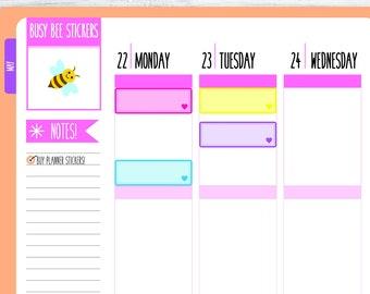 Quarter Box Planner Stickers, Quarter Stickers, Rainbow, Heart,  Functional Stickers, Happy Planner Stickers, Erin Condren Stickers