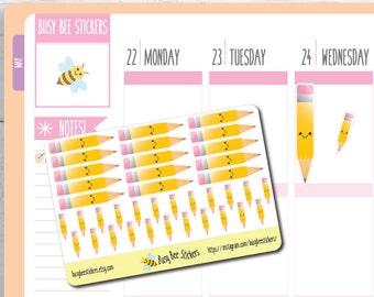 Pencil Planner Stickers, School Planner Stickers, Teacher Stickers, Back to School,  Study, Happy Planner Stickers, Erin Condren Stickers