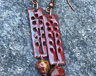 Red Creek Jasper Earrings~ Artisan Copper Earrings~ OOAK Handmade Jewelry