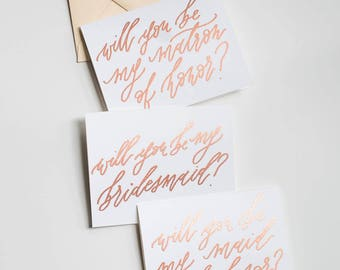 Will You Be My Bridesmaid Cards / Bridal Proposal Embossed Cards / Rose Gold Calligraphy