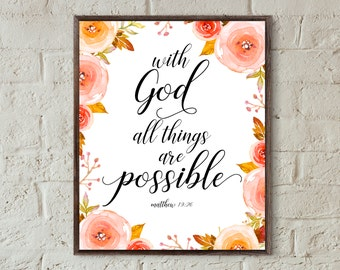 Bible verse wall art scripture print with god all things are possible printable bible verse print christian home decor inspirational quotes