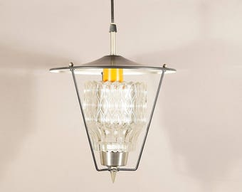 Wonderful mid century ceiling. Vintage hanging lamp 60's. Retro lamp, lamp, lantern. Germany Europe. Crystal glass and metal.