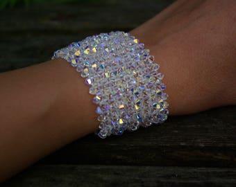 Wedding Bridal Bridesmaid Swarovski Crystal Cuff Bracelet AB Swarovski Bracelet Crystal Jewelry Wedding Party Swarovski Crystal AB Bracelet