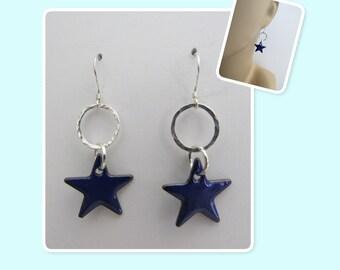 Cobalt Blue Star Enamel Sterling Silver Hammered Circle Earrings