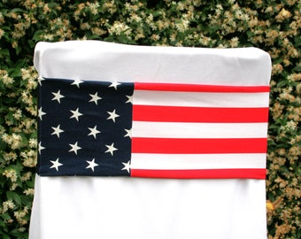 American Flag Stretch Chair Bands~Patriotic~4th Of July~USA